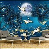 カスタマイズされた大壁画の新しい中国風国立潮の潮金青蓮のテレビの背景の壁の壁紙-200X140Cm