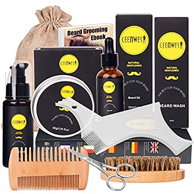 Beard Grooming Kit for Updraed 10 in 1 Beard Care Unique Gifts for Men, Beard Oil, Beard Brush, Beard Comb, Beard Balm, Beard Shampoo, Modelling Comb& Mustache Scissors Beard Growth & Trimming Kit from Ceenwes