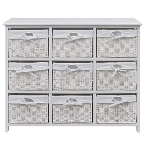 MissZZ Wide Storage Unit with Wicker Baskets Chest of 9 Drawers Cabinet for Home Bedroom (White)