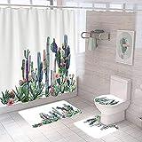 SWWS Accesorios de baño 1x Cortina de Ducha y 2 x Baño Antideslizante Alfombra y 1x WC Cubierta de la Tapa Cactus Sencillo y cómodo Tejido de poliéster es Absorbente, Res style5-M