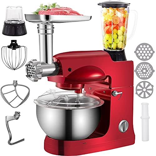 VEVOR Stand Mixer,4 in 1 1000W Multifunctional Electric Kitchen Mixer 6-Speed Meat Grinder Juice Blender with 5.3QT Stainless Steel Bowl, Hook, Whisk and Beater Tilt-Head Dough Machine, Red