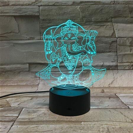 Lámpara de ilusión hindú Ganesha 3D Light con pilas, con control remoto a color, escritorio decorativo LED luz nocturna para sensores táctiles para niños