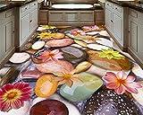 Kundenspezifische 3D-Wandbild, Pebble Lotus Bodenfolie HD Wallpaper Fliesenmalerei 3D-Bodentapete-430 cm x 300 cm (169,3 x 118,1 Zoll)