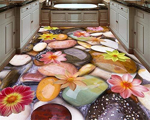 Hoge Mode Grote Behang Home Decoratie Schilderij Pebbles Lotus 3D Vloeren Tegels Schilderen 200cm(L) x140cm(W)