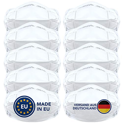 FFP2 Maske (10 Stück) - Sicherheit Made in EU - Premium Atemschutzmaske CE-zertifiziert EN149:2001+A1:2009 - Mundschutz / Schutzmaske ohne Ventil