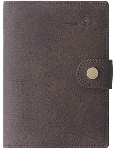 Borgasets Leather Rfid Blocking Travel Passport Holder Cover Slim ID Card Case Wallet Nubuck Brown