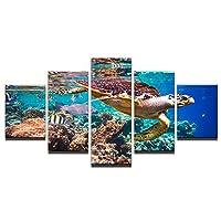 Dubdubd 亀の動物のポスターキャンバス絵画壁アート写真リビングルームの家の装飾ギフト-40X6040X8040X100Cmフレームなし