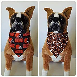 Reversible Bandana, Made With NFL Cleveland Browns Fabric, Football, Scarf, Cat, Dog, Pet, Slip On Over The Collar, (Does Not Tie) 2 in one