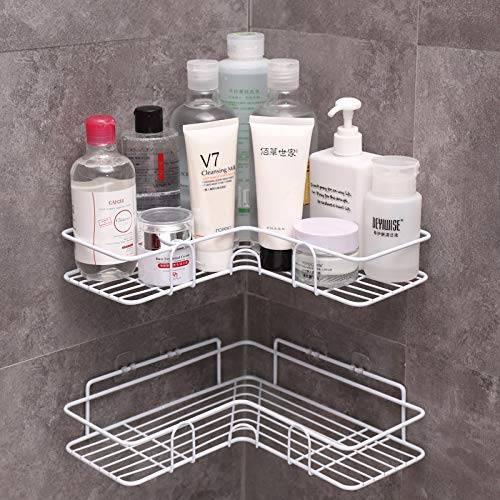 LAZY CAT Estante de baño con marco de esquina para ducha, accesorios de cocina de hierro forjado, estante de almacenamiento, estantes de baño (color: blanco 1 unidad)