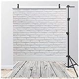 AIIKES 5x7FT Vinile Fotografia Sfondo Muro di mattoni bianchi Fotografia Sfondo Pavimento bianco Fotografia Sfondo Compleanno Sfondo Ritratto Sfondo Studio fotografico Puntelli 11-888