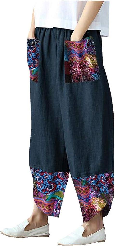 WUAI-Women Casual Loose Elastic Waist Drawstring Palazzo Pants Plus Size Boho Cotton Linen Cropped Wide Leg Pants
