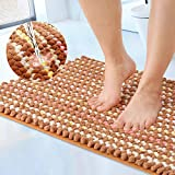 Chenille Bathroom Rug Extra Soft Absorbent Mat Beautiful Decor for Tub Shower Carpet Machine-Washable Rugs Exclusive Craft TPE Non-Slip Backing and Circle Top Surface 32''X20'' (Blooming-Champagne)