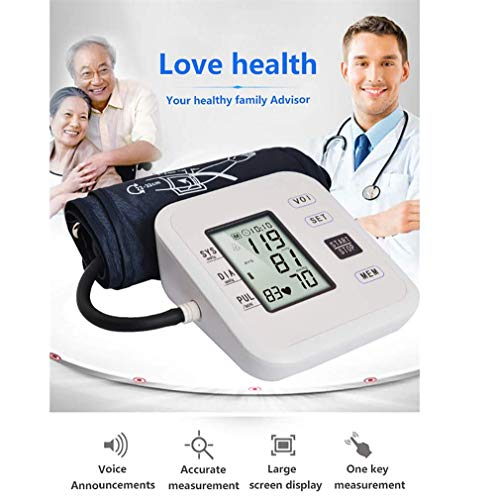 WanZhuanK Monitor de presión Arterial, máquina parlante, Pantalla LCD con Brazalete en la Parte Superior del Brazo y Estuche portátil para presión Arterial y latidos cardíacos,Novoice