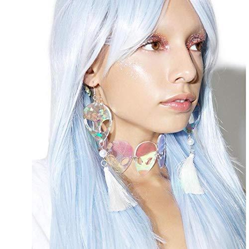 ATHQ Weibliche Ohrringe Laser Hologramm Alien Kopf Quaste Bling Ohrringe Cosplay Weird Party Ohrringe, Rhodium Überzogen