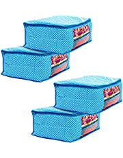 Amazon Brand - Solimo 4 Piece Cotton Mix Fabric Saree Cover Set with Transparent Window, Large, Blue