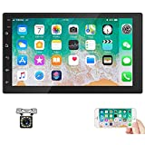 Hodozzy Double Din Android Car Stereo GPS 7'' Touch Screen Bluetooth Car Radio Head Unit Support Split Screen WiFi FM DVR Mirror Link Car MP5 Player + Camera