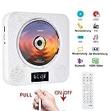DVD/CD Bluetooth Player CD Player Tragbar an der Wand montierbar CD/DVD Player HDMI Eingebaute HiFi Lautsprecher mit Fernbedienung für TV Musikplayer Unterstützung FM Radio