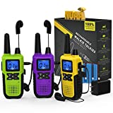 3 Long Distance Walkie Talkies Long Range for Adults - Rechargeable 2 Way Radios Walkie Talkies Long Range 3 Pack FRS Work Walkie Talkies with Earpiece and Mic Set USB Cable Charger NOAA Weather Radio