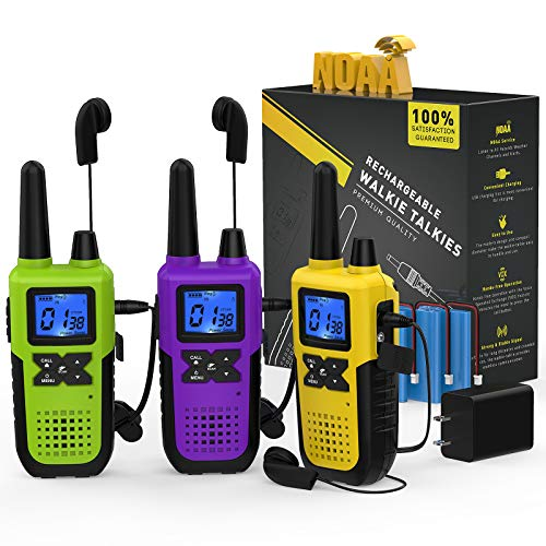 3 Long Distance Walkie Talkies Long Range for Adults - Rechargeable 2 Way Radios Walkie Talkies Long Range 3 Pack Work Walkie Talkies with Earpiece and Mic Set USB Cable Charger NOAA Weather Radio