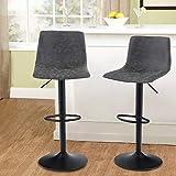 MAISON ARTS Juego de 2 taburetes giratorios para encimera de cocina, altura ajustable, sillas de barra con respaldo alto, taburetes de bar de piel sintética para cocina, color gris