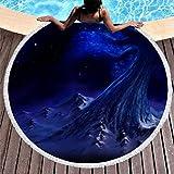 MINNOMO Toalla de Playa Redonda, Grande, con borlas, fantasía, Azul, árbol de la Vida, montaña, Paisaje Nocturno, impresión étnica, Flecos Redondos, Blanco, 150 cm