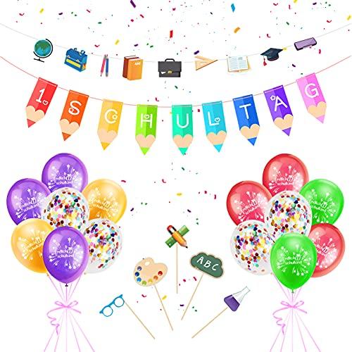 Set de decoración para el comienzo del curso escolar, guirnalda + 25 globos decorativos todo lo bueno colegio set accesorios fotos niños y niñas, colgar en fiestas escolarización.