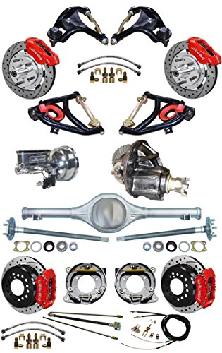 NEW SUSPENSION & WILWOOD BRAKE SET FOR 55-57 CHEVY, CURRIE REAR END & AXLES, 9' FORD POSI-TRAC 3RD MEMBER, WILWOOD DISC BRAKES, RED CALIPERS, 11' DRILLED ROTORS, MASTER CYLINDER, BOOSTER CONTROL ARMS