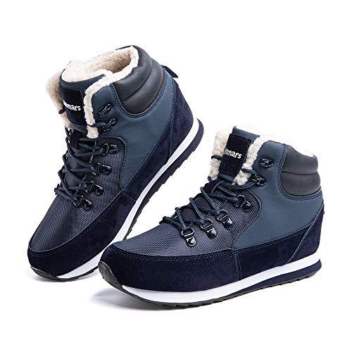 Hitmars Winterschuhe Herren Damen Gefüttert Winterstiefel Winter Sneaker Schneestiefel Warm Trekking Wanderschuhe Outdoor Blau 40 EU