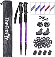 TheFitLife Nordic Walking Trekking Poles - 2 Pack with Antishock and Quick Lock System, Telescopic, Collapsible,...