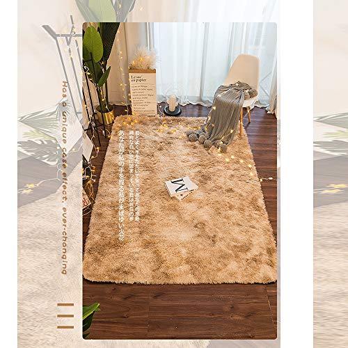 GOYOO Teppich Schlafzimmer Fußbodenteppich Süß Matte Krawatte gefärbt Plüsch Bedside Teppich Leben Zimmer Vollständiger Shop Decke,Beige,80x200CM