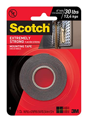 T-REX Extreme Hold Double Sided Mounting Tape All Weather Black 1 Inch x 60 1