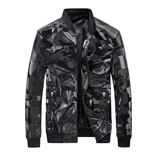Men's Faux Leather Jacket Biker Fashion Cotton Coats Autumn and winter camouflage men's jacket-black_XXXL