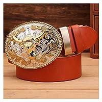SFQRYP ゴールドビッグバックルフルグレインリアルレザー100%純正レザーメンズベルト高級高品質茶色の女性 (Belt Length : 110cm, Color : Camel buffalo ring)