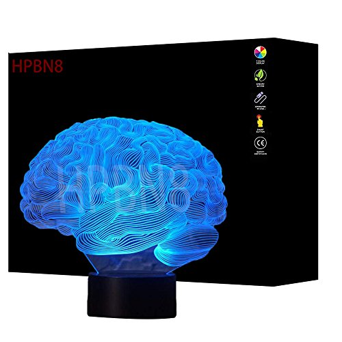 3D Cerebro Ilusión Lámpara luz Nocturna 7 Colores Cambiantes Touch USB de Suministro de Energía Juguetes Decoración Regalo de Navidad Cumpleaños