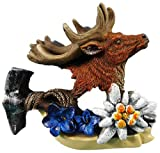 Imán de ciervo 7 x 7 cm Alpes Enzian planta flor imán para nevera figura decorativa 2610F