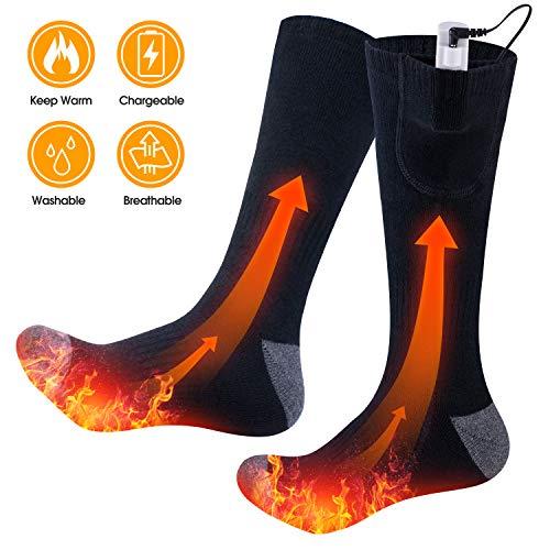 Parner Heated Socks Electric Socks Rechargeable Battery 3 Heating Settings Thermal Winter Socks for Men Women, Washable Breathable Electric Battery Socks for Hunting Skiing Camping Foot Warmer(Gray)