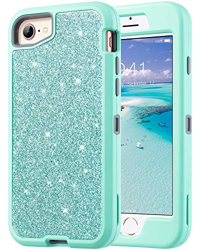 ULAK iPhone 8 Case, iPhone 7 Case, iPhone 6 6s Case, Glitter Sparkly Bling Heavy Duty Hybrid Shockproof Protective Phone Cover with Shiny PU Leather for Apple iPhone 8/7/6 6s (4.7 inch), Mint Green