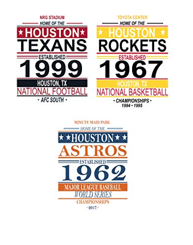 Houston Vintage Sports Posters - Set of Three 11x14 Prints - Astros, Texans, Rockets Memorabilia Fan Art
