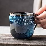 Tazas de café de cerámica azul de 350 m para té, niños, tazas y tazas de viaje para el hogar, la oficina, el desayuno, tazas de leche, regalos para niñas