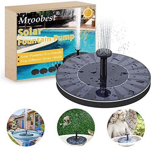 Solar Springbrunnen, Solar Fountain, Solarbrunnen Schließen Sie verschiedene Düsen an, um verschiedene Arten von Wasser zu sprühen, geeignet für Gärten, Vogelteiche, kleine Teiche und andere Orte