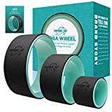 Pudding Cat 3 Pack Yoga Wheels, Back Wheel Set Including 13 Inch, 10.5 Inch, 6.5 Inch Yoga Prop Roller Wheel for Stretching, Back Pain and Improving Backbends (Cyan)