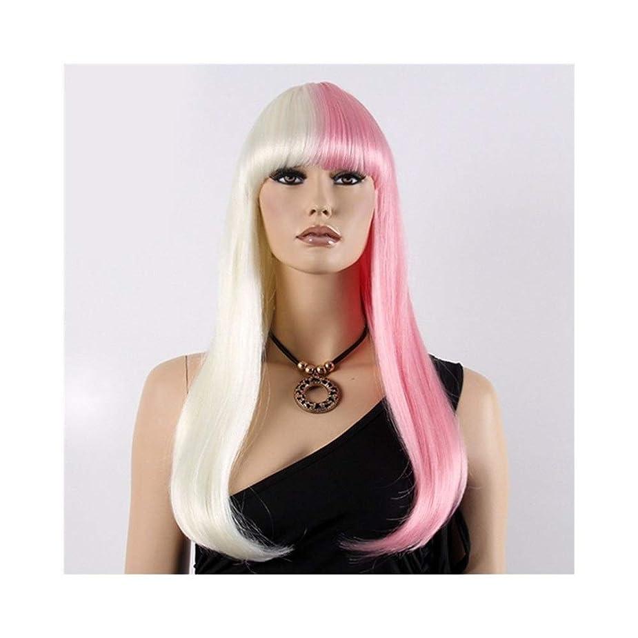 濃度出版前投薬YOUQIU 女子ハーフホワイトハーフパウダーロングストレート合成ボブ髪Wigcosplayウィッグウィッグ (色 : Photo Color)