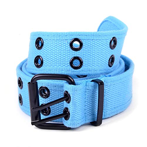 boxed-gifts Solid Color Military and Casual Canvas Belt, Double Grommet Unisex Belt for Men and Women - Turquoise