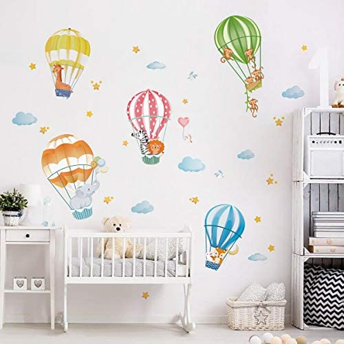 decalmile Animals in Hot Air Balloons Wall Decals Elephant Giraffe Monkey Wall Stickers Baby product image