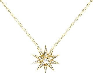 Wishrocks 18K Gold Over Sterling Silver Round Cut White Cubic Zirconia Starburst Pendant Necklace