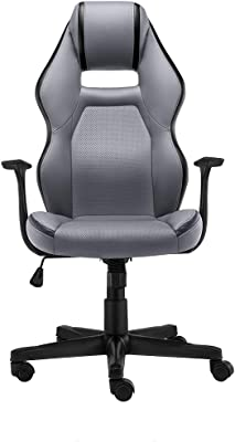 QXX Home Computer Chair, Silla giratoria Ajustable Silla de Oficina Respaldo Lift Apoyabrazos Black Yellow