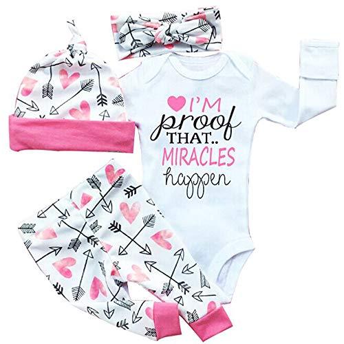 4 Pcs Newborn Baby Girls Pants Set Letter Romper Bodysuit Arrow Heart Pants Hat Headband Outfit Clothes Miracles 18-24 Months