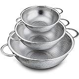 Colador Conjunto de 3, coladores de colador de acero inoxidable para drenar el lavado de enjuague, perfecto para las verduras de pasta frutas filtros y colinadores tamiz de malla fina