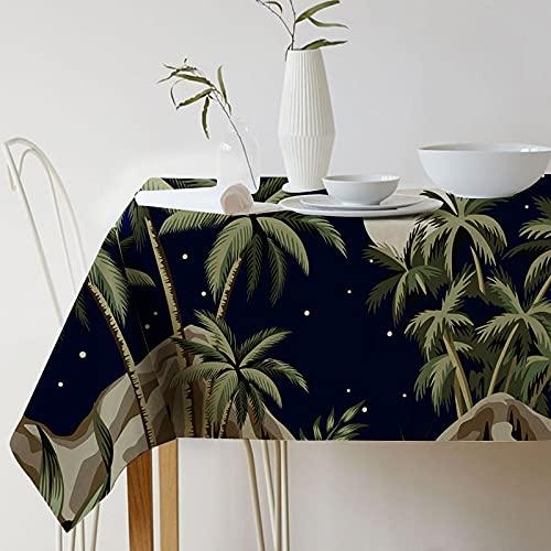 XXDD Mantel de Lino Impermeable de Hoja de Palma de Hoja Negra Dorada de Planta Tropical nórdica, Mantel de decoración de Cocina para el hogar A3 140x160cm