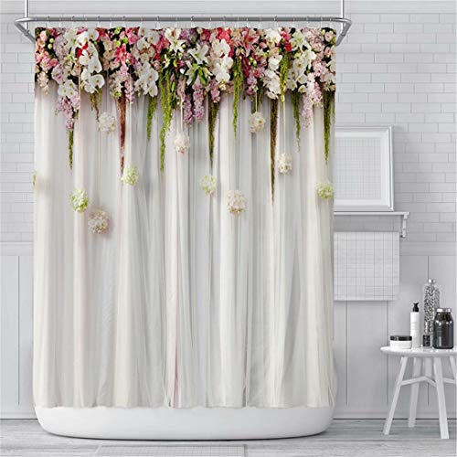Floral Shower Curtain for Bathroom, White Flowers Fabric Bathroom Curtains Set with Hooks Waterproof Fabric Shower Curtains Decorative 72x72 Inches Machine Washable